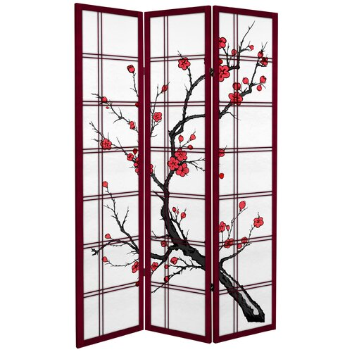 "Oriental Furniture 71"" x 47.25"" Tall Blossom 3 Panel Room Divider"