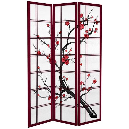 "Oriental Furniture 71"" x 47.25"" Tall Blossom 3 Panel Room Divider"