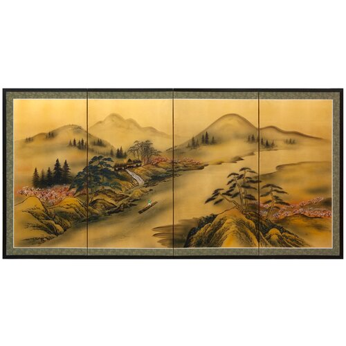 Majestic River on Gold Leaf Framed Original Painting