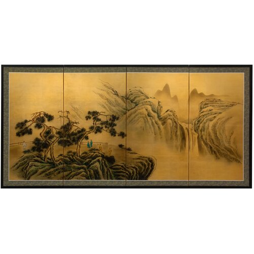 Mountaintop Waterfall on Gold Leaf Framed Original Painting