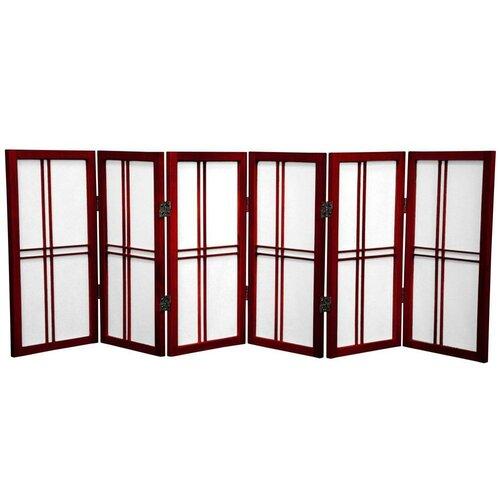 "Oriental Furniture 26"" Desktop Double Cross Shoji Screen 6 Panel Room Divider"