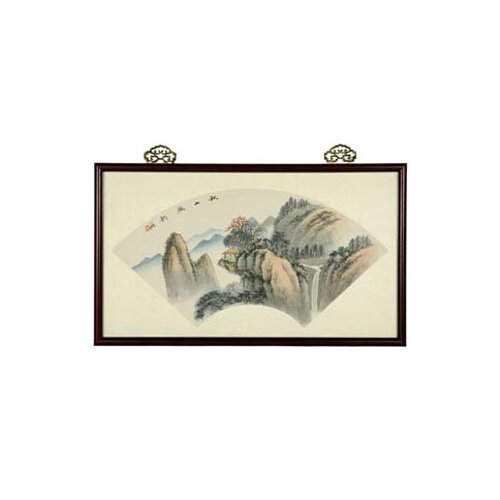 Oriental Mountain Retreat Watercolor Framed Original Painting