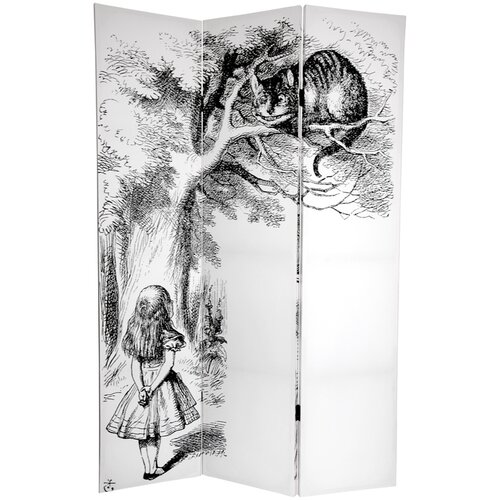 """Oriental Furniture 72"""" x 48"""" Double Sided Alice in Wonderland 3 Panel Room Divider"""