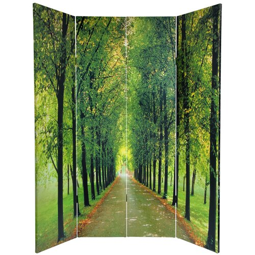 "Oriental Furniture 70.88"" x 63"" Double Sided Path of Life 4 Panel Room Divider"
