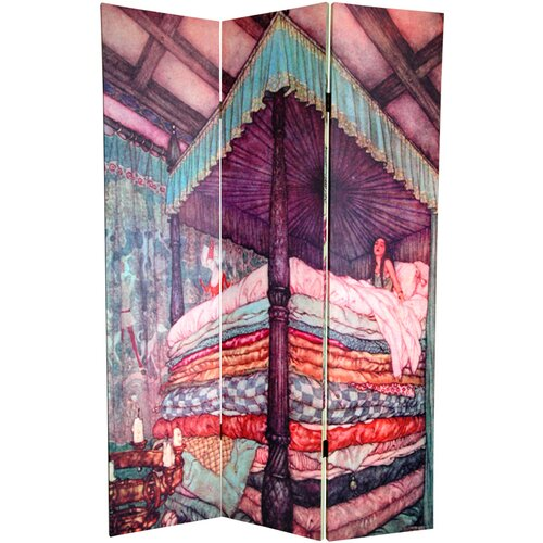 "Oriental Furniture 72"" x 64"" Double Sided Princess Fairy Tale 3 Panel Room Divider"