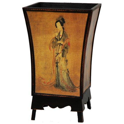 Oriental Furniture Enchanted Lady Waste Basket in Golden Brown Crackled Sheen