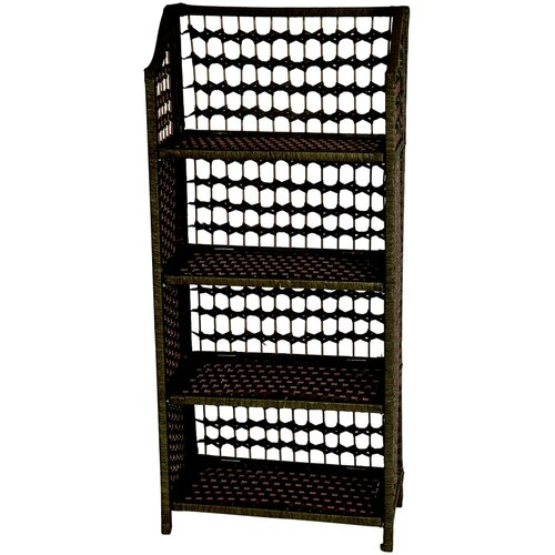 "Oriental Furniture 43"" Natural Fiber Shelving Unit in Black"