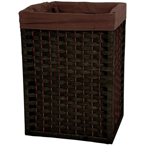 "Oriental Furniture 17"" Natural Fiber Basket in Black"
