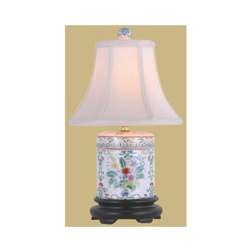 "Oriental Furniture Porcelain Cover Jar 18"" H Table Lamp with Bell Shade"