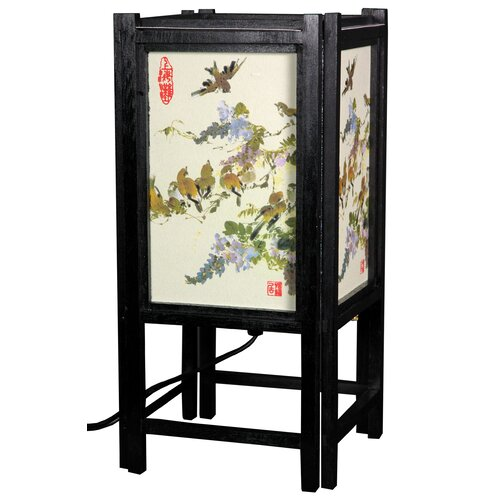 "Oriental Furniture Art Shoji Bird 14"" H Table Lamp with Square Shade"