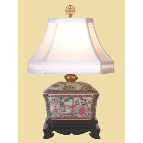 "Oriental Furniture Rose Medallion Box 18.5"" H Table Lamp with Bell Shade"