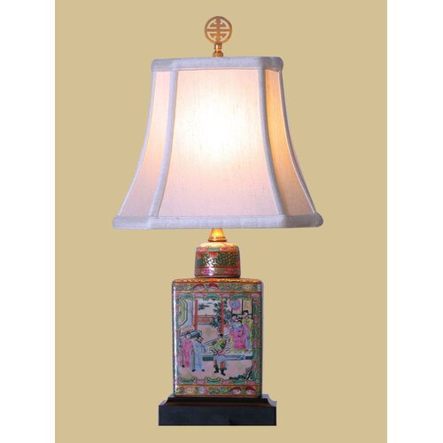"Oriental Furniture Rose Medallion 18.5"" H Jar Table Lamp"