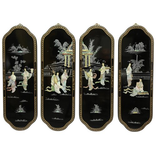 Oriental Furniture 4 Piece Ladies Curved Wall Décor Set