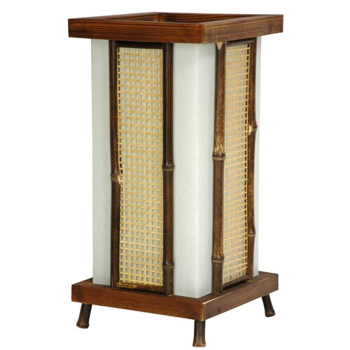 "Oriental Furniture Matsu Wood and Bamboo Shoji 14"" H Table Lamp with Square Shade"