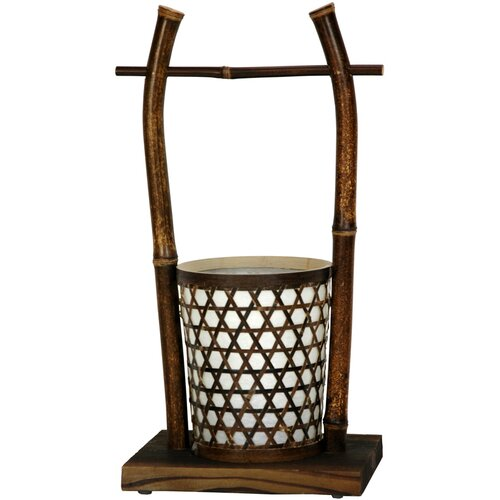 Oriental Furniture Japanese Rice Bucket Table Lamp