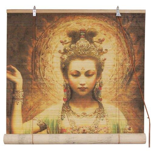 Kwan Yin with Lotus Bamboo Roller Blind
