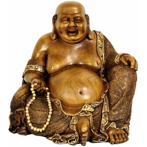 Sitting Hotei Happy Buddha Figurine