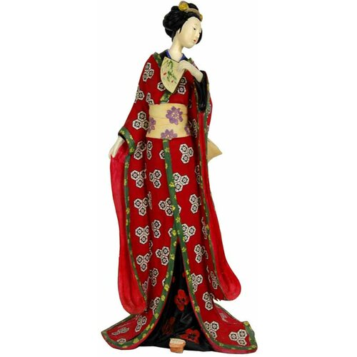 Oriental Furniture Geisha With Pale Green Sash Figurine