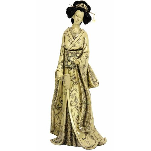 Oriental Furniture Geisha With Plum Tree Kimono Figurine