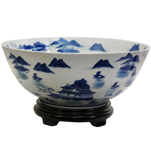 Oriental Furniture Bowl with Blue Landscape Design in White
