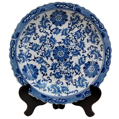Oriental furniture floral decorative plate in blue and white reviews wayfair - Decoratieve platen ...