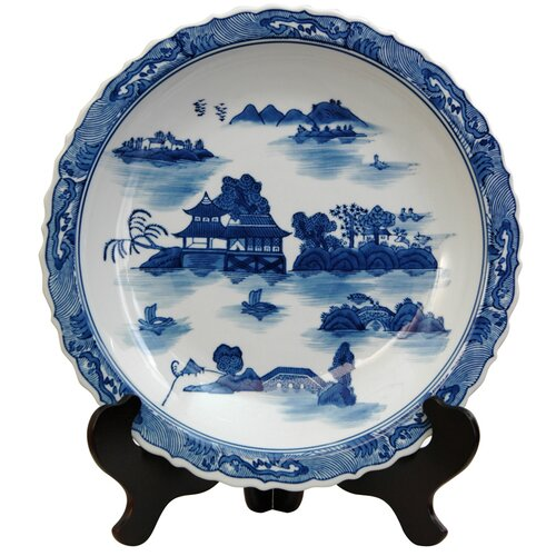 Oriental Furniture Landscape Decorative Plate in Ming Blue and White