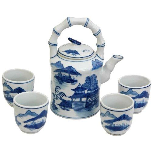 Oriental Furniture Landscape 5 Piece Porcelain Tea Set