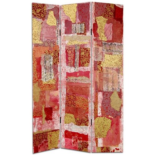 "Oriental Furniture 70.88"" x 47"" Avant-Garde Collage 3 Panel Room Divider"