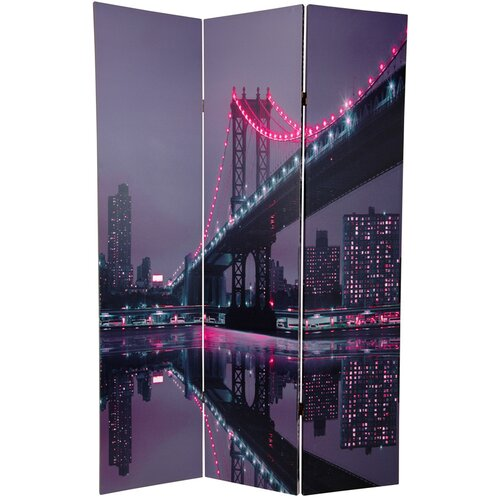 "Oriental Furniture 70.88"" x 47"" New York State of Mind 3 Panel Room Divider"