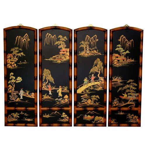 "Oriental Furniture 36"" x 48"" Ching Wall Plaques 4 Panel Room Divider"