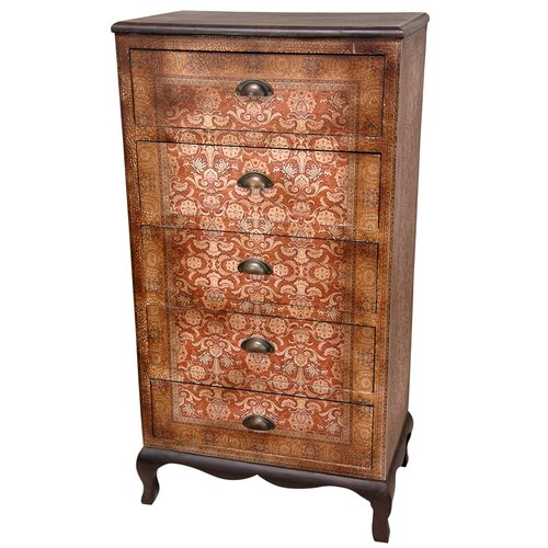 Oriental Furniture Olde Worlde Vintage 5 Drawer Chest