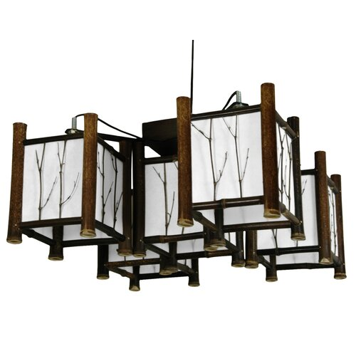 Watashi 5 Light Japanese Hanging Lantern Chandelier