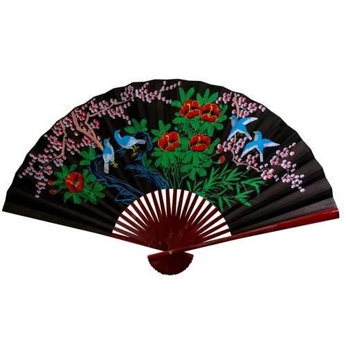 Oriental Furniture Cherry Blossom Fan Wall Décor