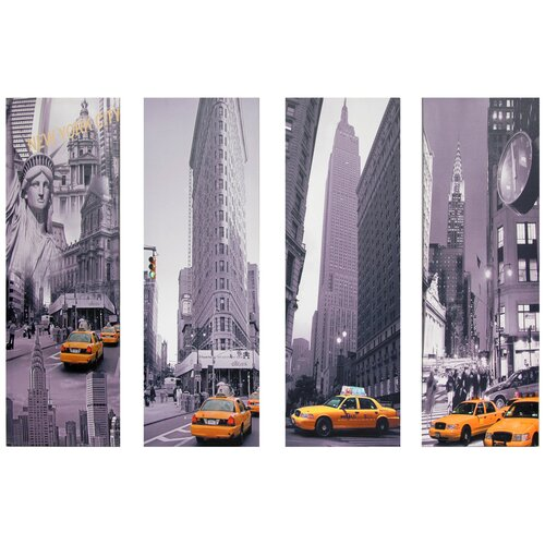 Oriental Furniture New York Taxi 4 Piece Graphic Art on Canvas Set