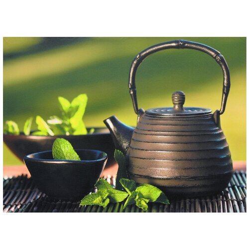 Teapot on Bamboo Mat Photographic Print on Canvas