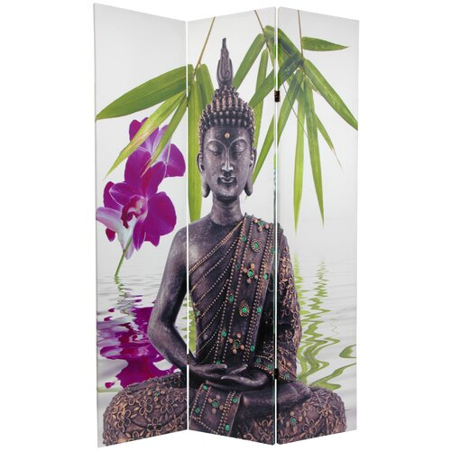 "Oriental Furniture 71.25"" x 47.25"" Double Sided Serenity Buddha 3 Panel Room Divider"