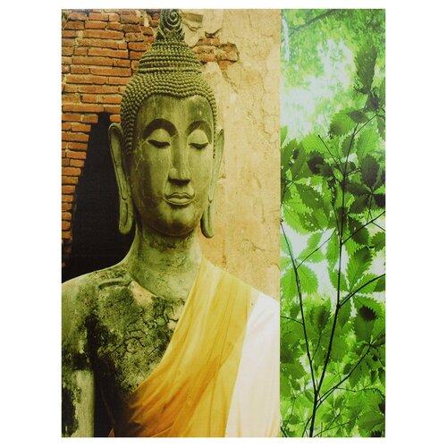 Oriental Furniture Yellow Draped Buddha Photographic Print on Canvas