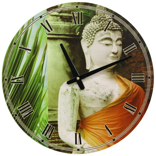 "Oriental Furniture 15.75"" Buddha Wall Clock"