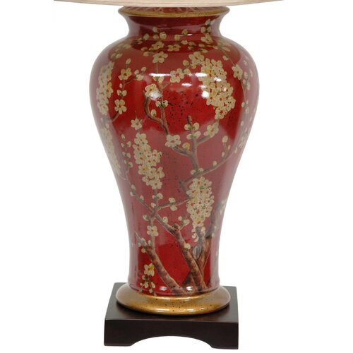 """Oriental Furniture Sakura Blossom Vase 30"""" H Table Lamp with Bell Shade"""