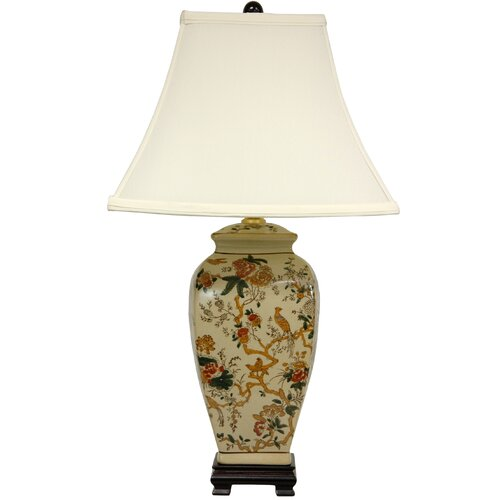 """Oriental Furniture Autumn Birds and Flowers Vase 25"""" H Table Lamp with Bell Shade"""