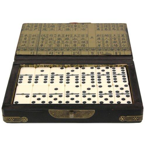 Oriental Furniture Domino Set with Box in Black Lacquer