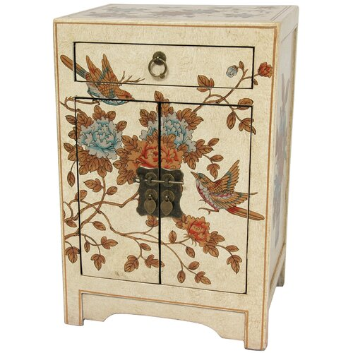 Oriental Furniture Peaceful Birds End Table