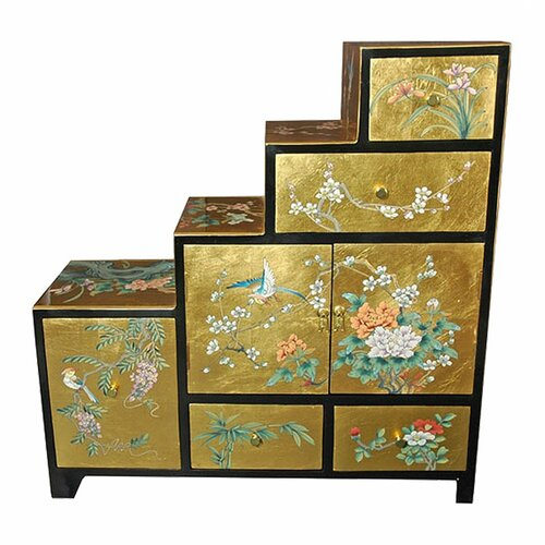 Chinese Leaf Step Tansu Cabinet