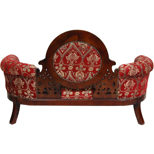 Oriental Furniture Queen Mary Fleurs-De-Lis Settee