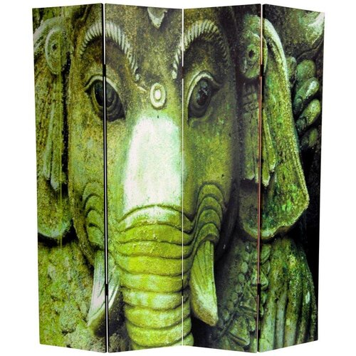 """Oriental Furniture 72"""" x 48"""" Double Sided Buddha / Ganesh 4 Panel Room Divider"""