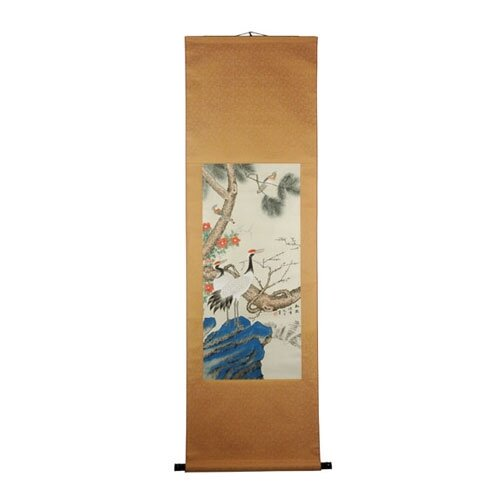 Oriental Furniture Crane in a Pine Tree Oriental Watercolor Painting Wall Hanging