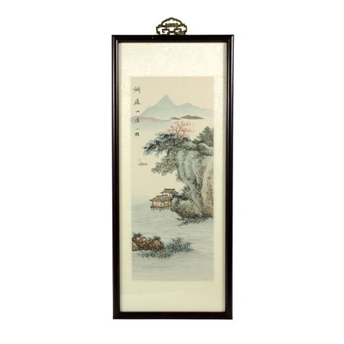Oriental River Cottage Watercolor Framed Original Painting