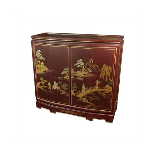 Oriental Furniture Japanese Slant Front Cabinet Crackle