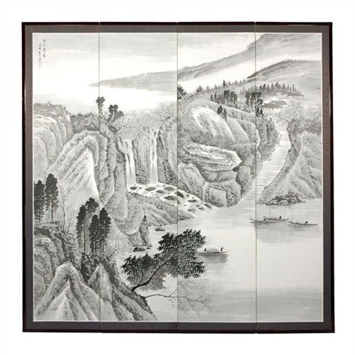 "Oriental Furniture 72"" x 72"" Misty Mountain 4 Panel Room Divider"