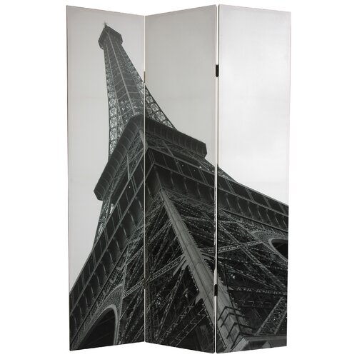 "Oriental Furniture 70.88"" x 47.25"" Eiffel Tower 3 Panel Room Divider"